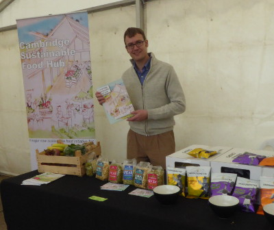 A stall promoting the Cambridge Sustainable Food Hub project at a fair on 30 September 2017 with the leader Duncan Catchpole who is also managing director of The Cambridge Organic Food Company Ltd.