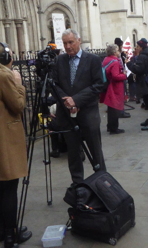 25 October 2017: Gordon Peters, plaintiff, outside court on the first day of the judicial review, The Strand, London