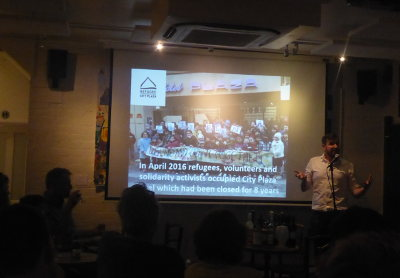 27 August 2017: Refugees in Athens City Plaza Hotel, talk by Alex in a Cambridge coffee bar
