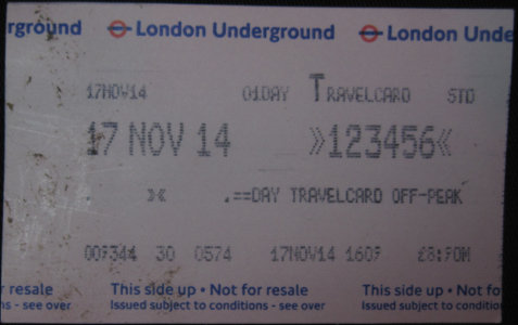 London Underground zone 1-6 off-peak one-day travel card dated November 2014 showing price £8-90