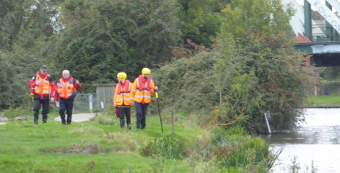 Cambridgeshire Search and Rescue volunteers at work on Ditton Meadows after a request for help from Cambs police