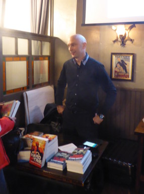 Shaun Attwood with books he has written, 1 November 2017, London